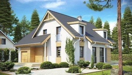 Проект котеджу з мансардними вікнами і фронтальним гаражем