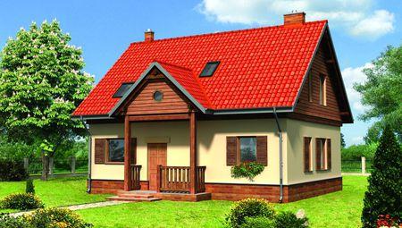 Чудовий будинок з яскравим дахом і жовтими стінами