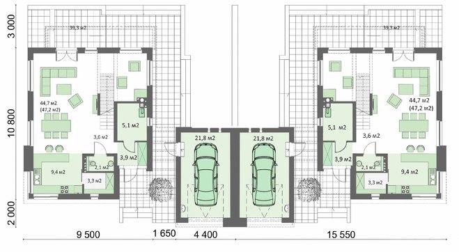 житловий будинок на дві сім'ї із загальним гаражним приміщенням