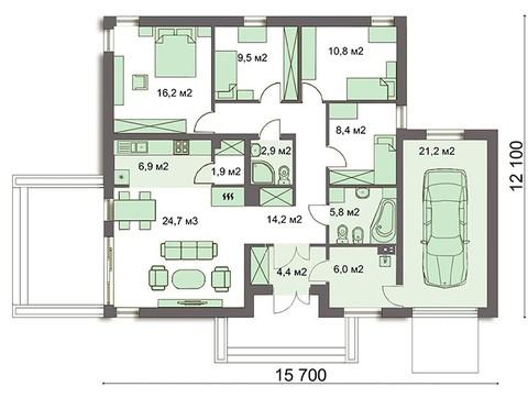 Привабливий одноповерховий будинок на чотири спальні
