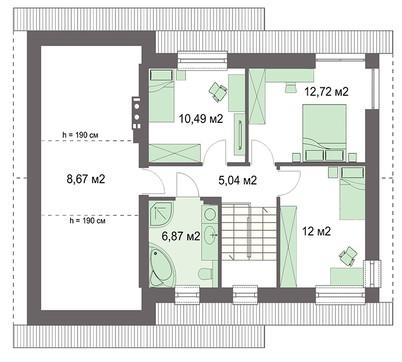 Двоповерховий котедж з гаражем та мансардою