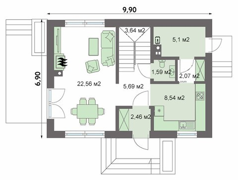 Стильний невеликий житловий будинок на два поверхи
