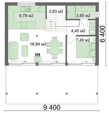 Заміський житловий будинок з трьома спальнями