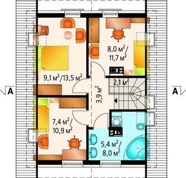 Мансардний будинок з габаритами 8 на 8