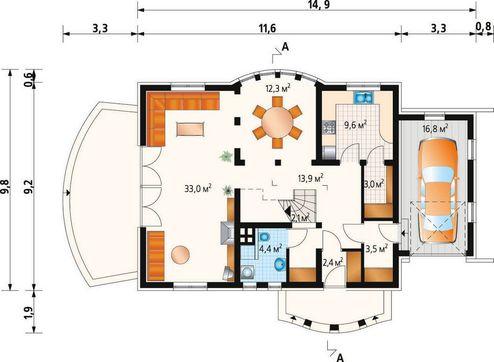 Проект будівництва мансардного будинку 170 m²