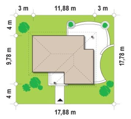 Проект невеликого одноповерхового будинку з трьома спальнями