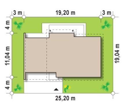 Проект одноповерхового котеджу з боковим гаражем