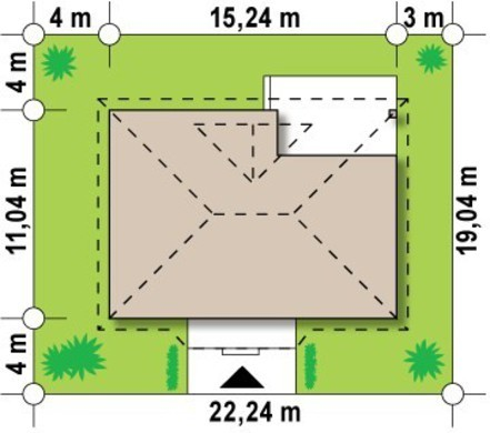 Проект одноповерхового котеджу з оранжереєю і терасою