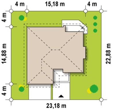 Проект одноповерхового котеджу з гаражем і мансардою