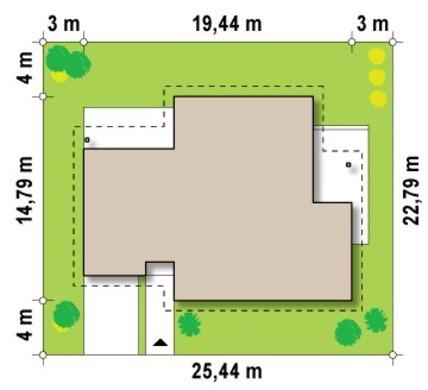 Проект одноповерхового будинку з кабінетом