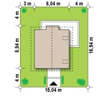 Проект невеликого акуратного дачного будинку з мансардою і двосхилим дахом