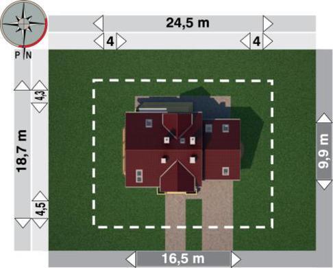 Проект для будівництва приємного будинку з гаражем на 2 авто і кутовим еркером