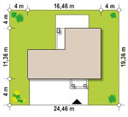 Проект невеликого двоповерхового будинку з гаражем в прибудові