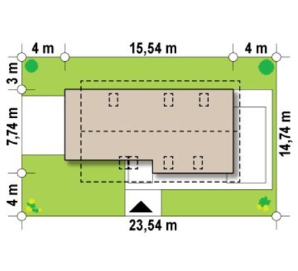 Проект будинку з мансардою та гаражем для вузької ділянки