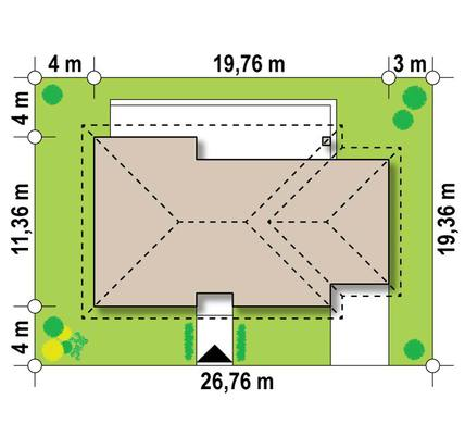 Проект одноповерхового котеджу для вузької ділянки