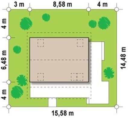 Проект невеликого дачного будиночка з фронтальною терасою