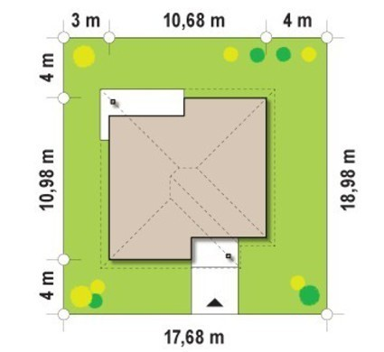 Проект одноповерхового будинку з критою терасою