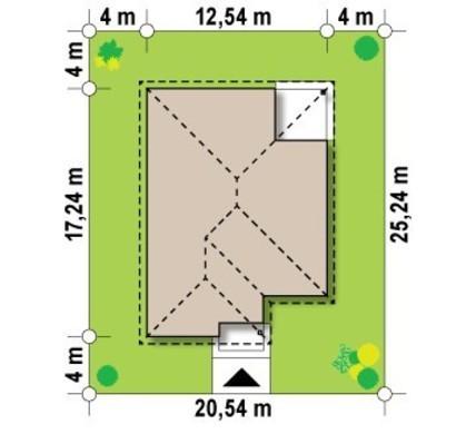 Одноповерховий котедж з кутовою терасою