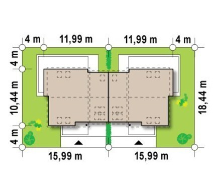 Проект просторого котеджу на 2 сім'ї з боковим гаражем