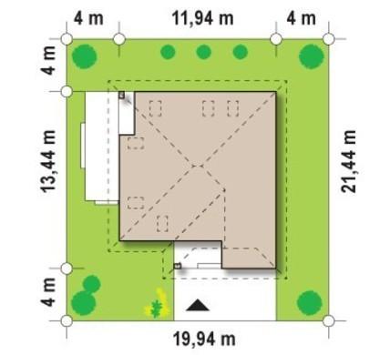 Проект котеджу з бічною терасою
