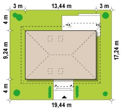 Проект 1-поверхового котеджу з горищем