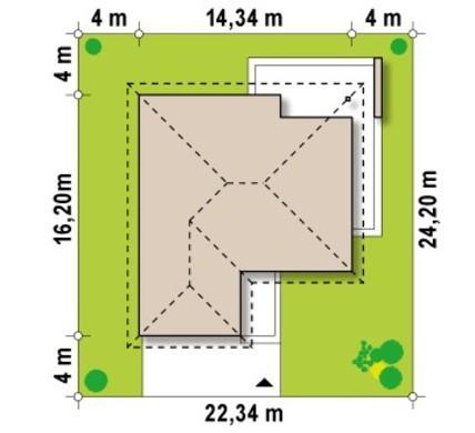 Проект одноповерхового будинку з гаражем на 2 авто