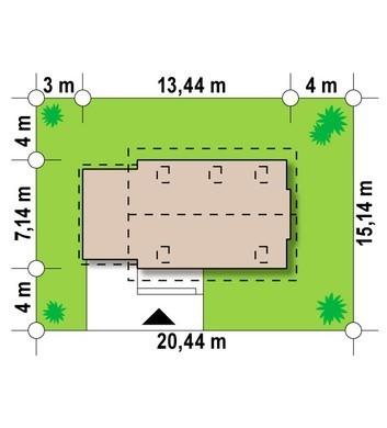 Проект невеликого акуратного дачного котеджу з гаражем