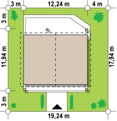 Проект одноповерхового будинку з додатковою фронтальною терасою