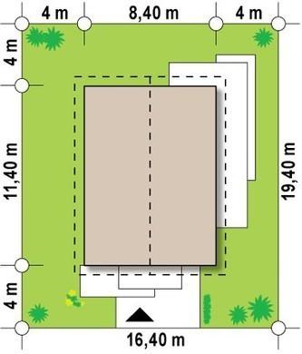 Проект невеликого одноповерхового будинку з зручним бічним входом
