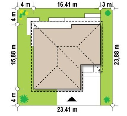 Проект одноповерхового будинку з гаражем на одну машину