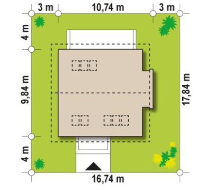 Проект будинку 9 на 10 з двосхилим дахом