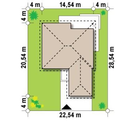 Проект одноповерхового котеджу з фронтальним гаражем
