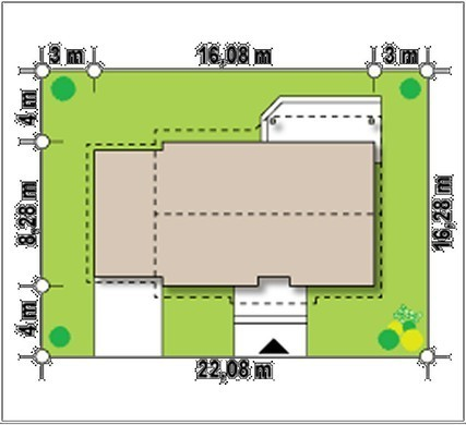 Проект комфортного затишного одноповерхового котеджу з гаражем