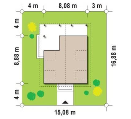 Проект будинку із зовнішнім каміном 8 на 8