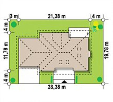 Проект красивого будинку з гаражем і мансардою вільного планування