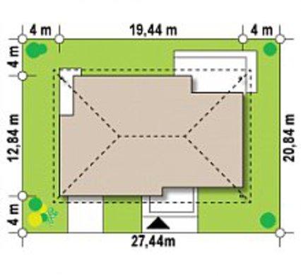 Проект одноповерхового будинку з великим горищем