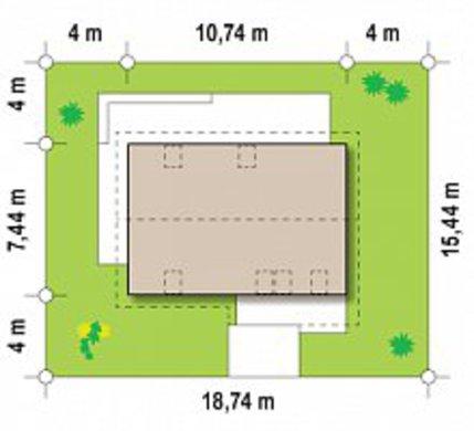 Проект дачного будинку за типом 4M218 з цегляним фасадом