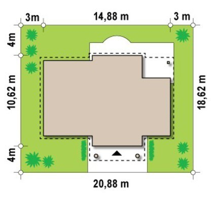 Проект будинку на 130 m² з колонами