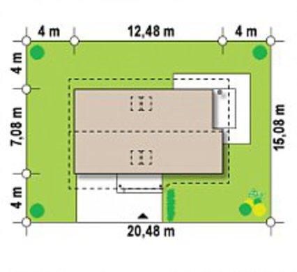 Варіант популярного літнього будиночка 4M480 з прибудованим гаражем