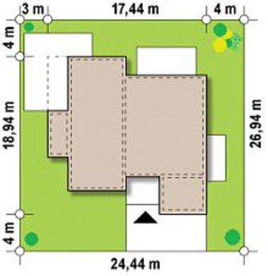 Проект одноповерхового сучасного будинку з фронтальним гаражем