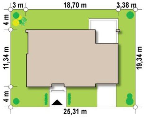 Сучасний проект будинку з плоским дахом і гаражем
