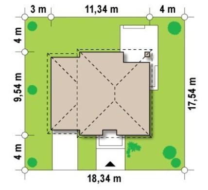 Проект двоповерхового сучасного котеджу з трьома спальнями і гаражем