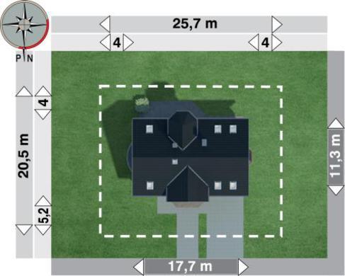 Проект котеджу з мансардою і напівкруглим балконом над еркером