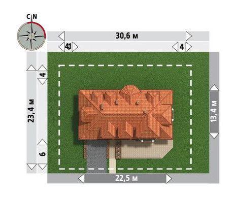 Будинок з гаражем на 2 авто розміром 12 на 22