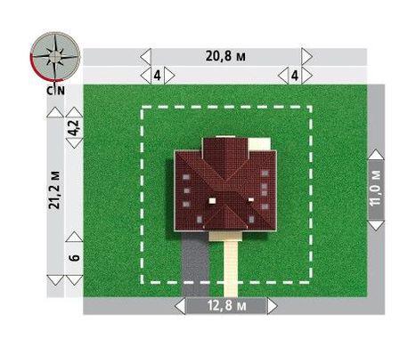 Проект котеджу з чотирискатним дахом і гаражем на одне авто